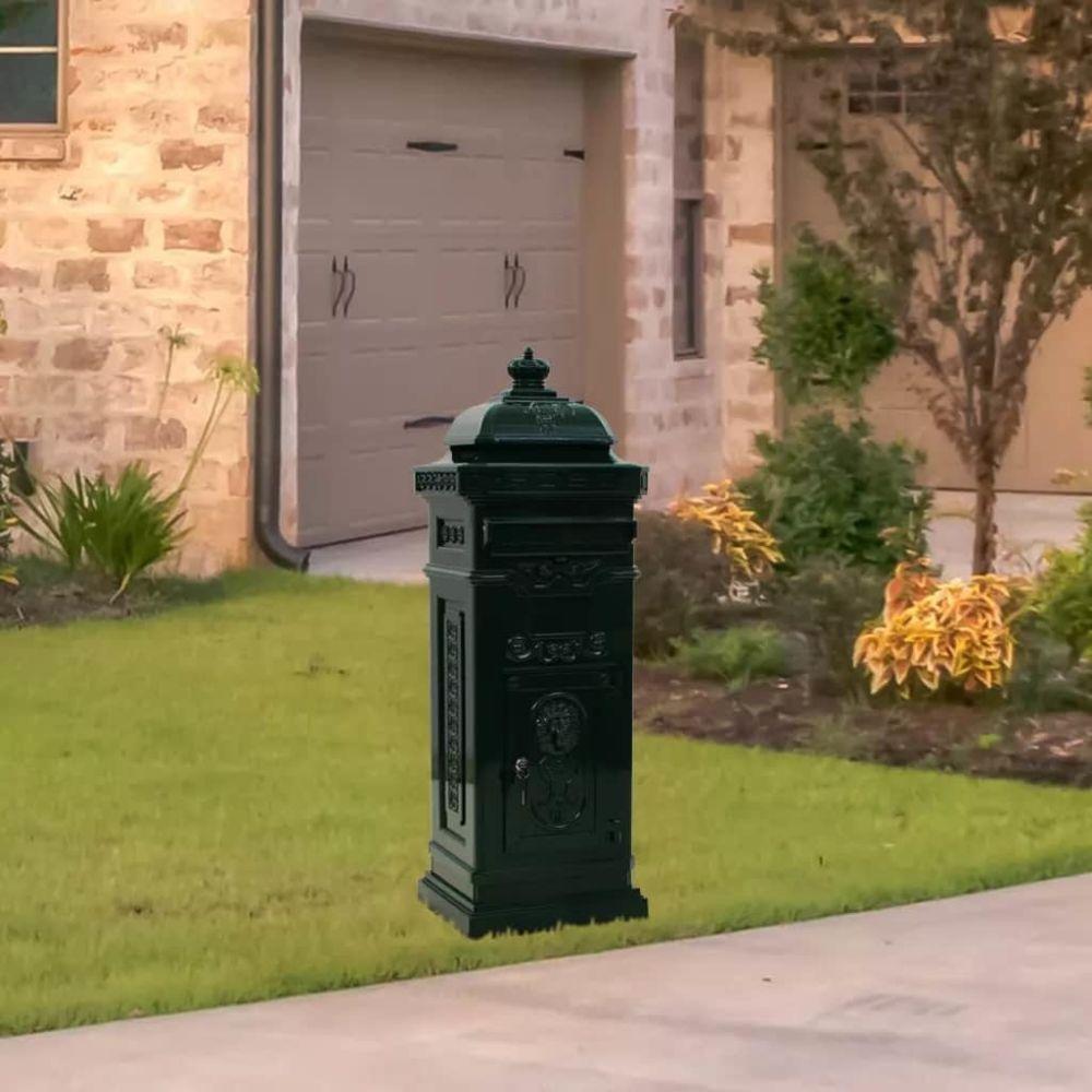 Vidaxl Boîte aux lettres à pilier Aluminium Vintage antirouille Vert - Maison et jardin/Décorations/Fentes à lettres   Vert   V