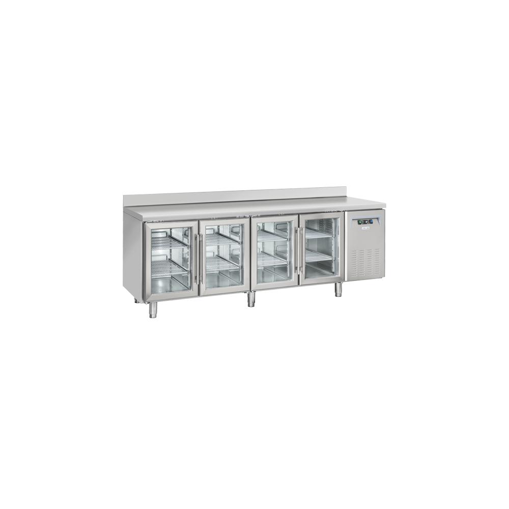 Materiel Chr Pro Table Réfrigérée Positive Profondeur 725 avec Dosseret - 4 Portes Vitrées GN 1/1 - Cool Head - R290
