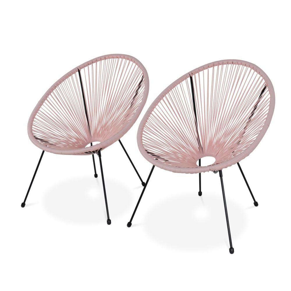 Alice'S Garden Lot de 2 fauteuils design Oeuf - Acapulco rose pale - Fauteuils 4 pieds design rétro, cordage plastique