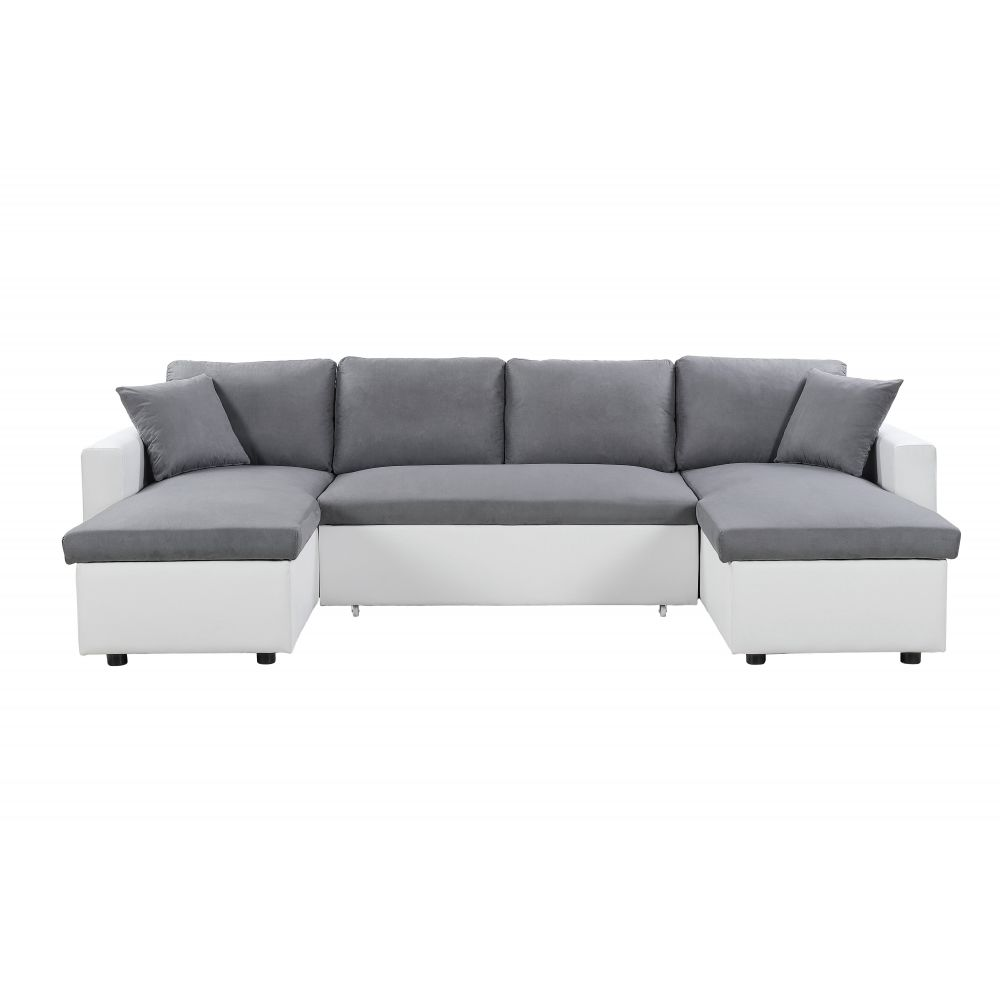 Usinestreet Canapé d'Angle Panoramique MARIA Convertible - Couleur - Blanc / Gris