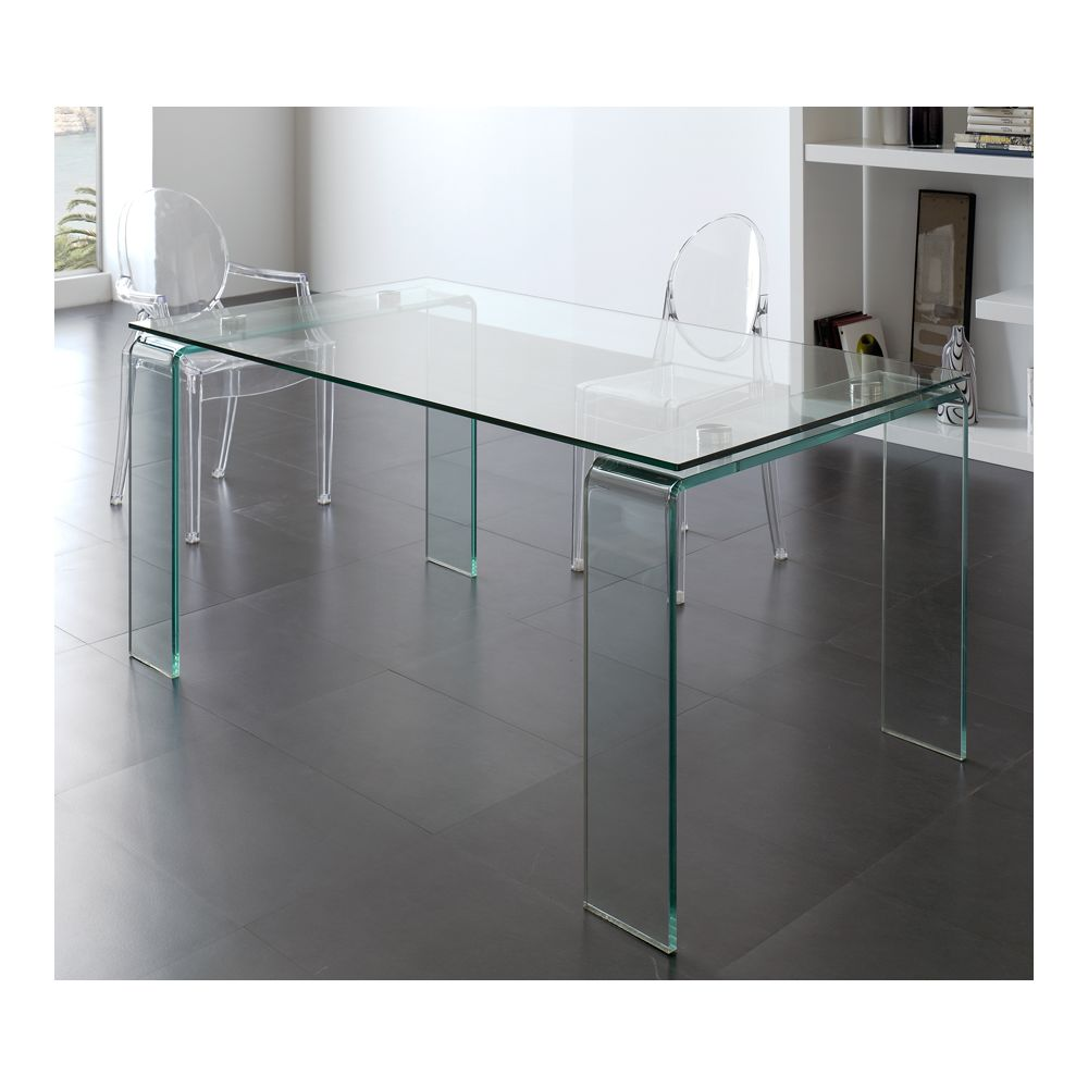 Kasalinea Table de salle à manger en verre design ICE