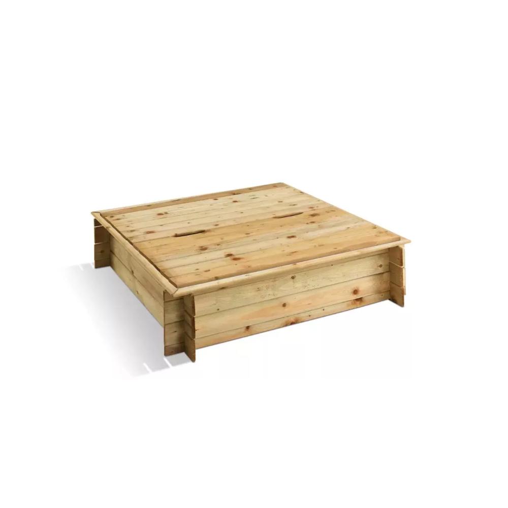 Jardipolys Bac à sable carré en bois + Couvercle