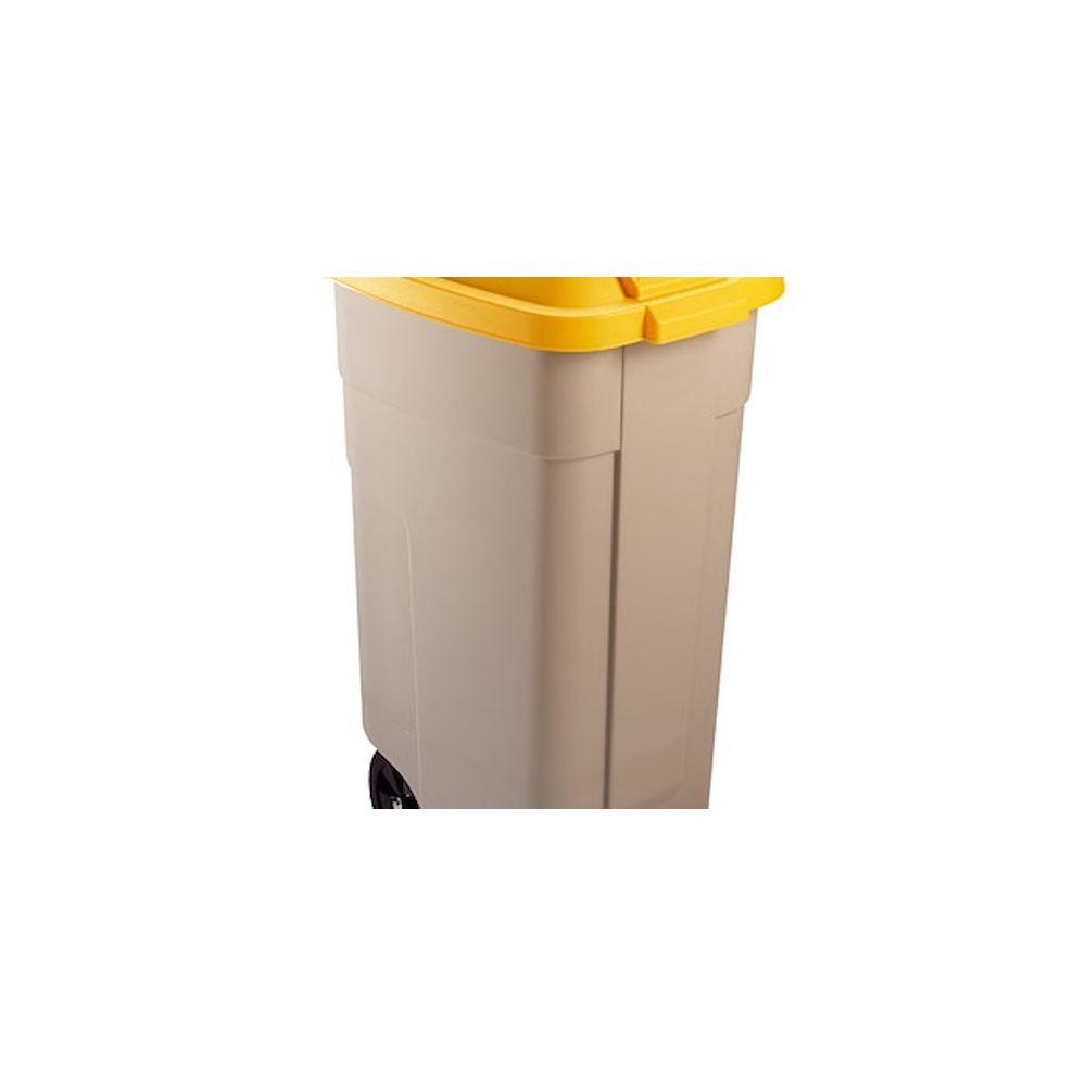 Rubbermaid Poubelle 100 litres + couvercle Rubbermaid tri sélectif jaune