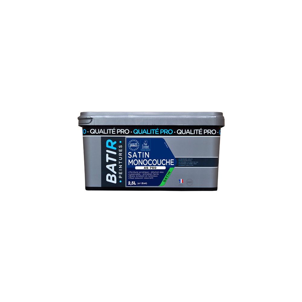 Batir Peintures Peinture acrylique Satin 2,5 L - Blanc - BAT111180 - Batir