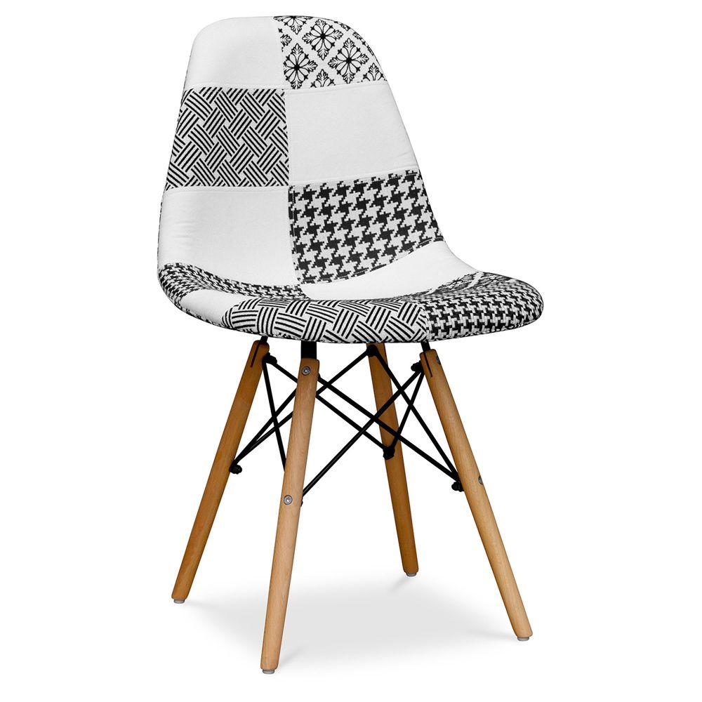 Privatefloor Chaise Deswick Noir et blanc - Patchwork