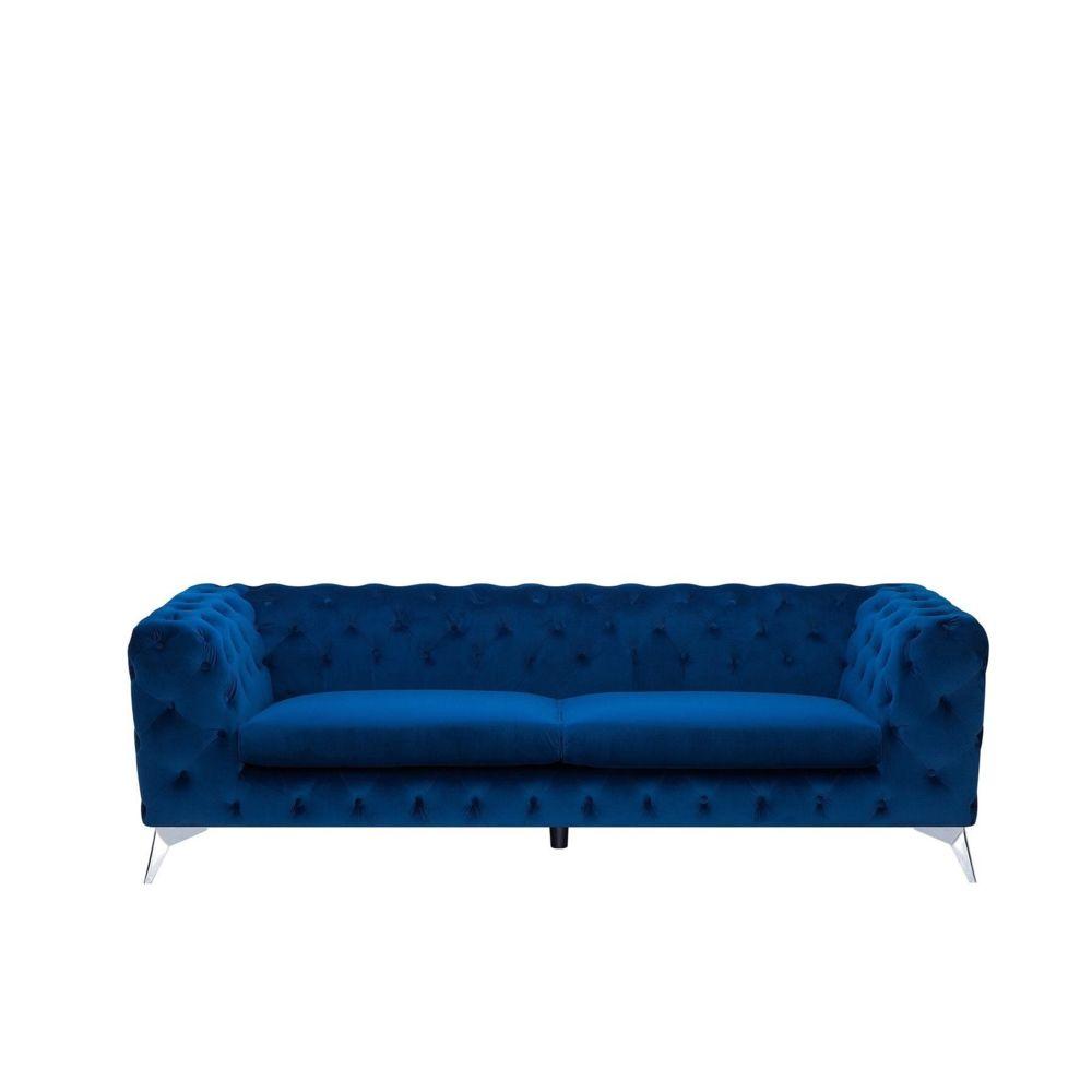 Beliani Beliani Canapé Chesterfield en velours bleu foncé SOTRA - bleu foncé