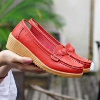 3e3e1dc12bde Wewoo - Chaussures en cuir décontractées sauvages souples et confortables  pour femme Couleur: Vin Rouge