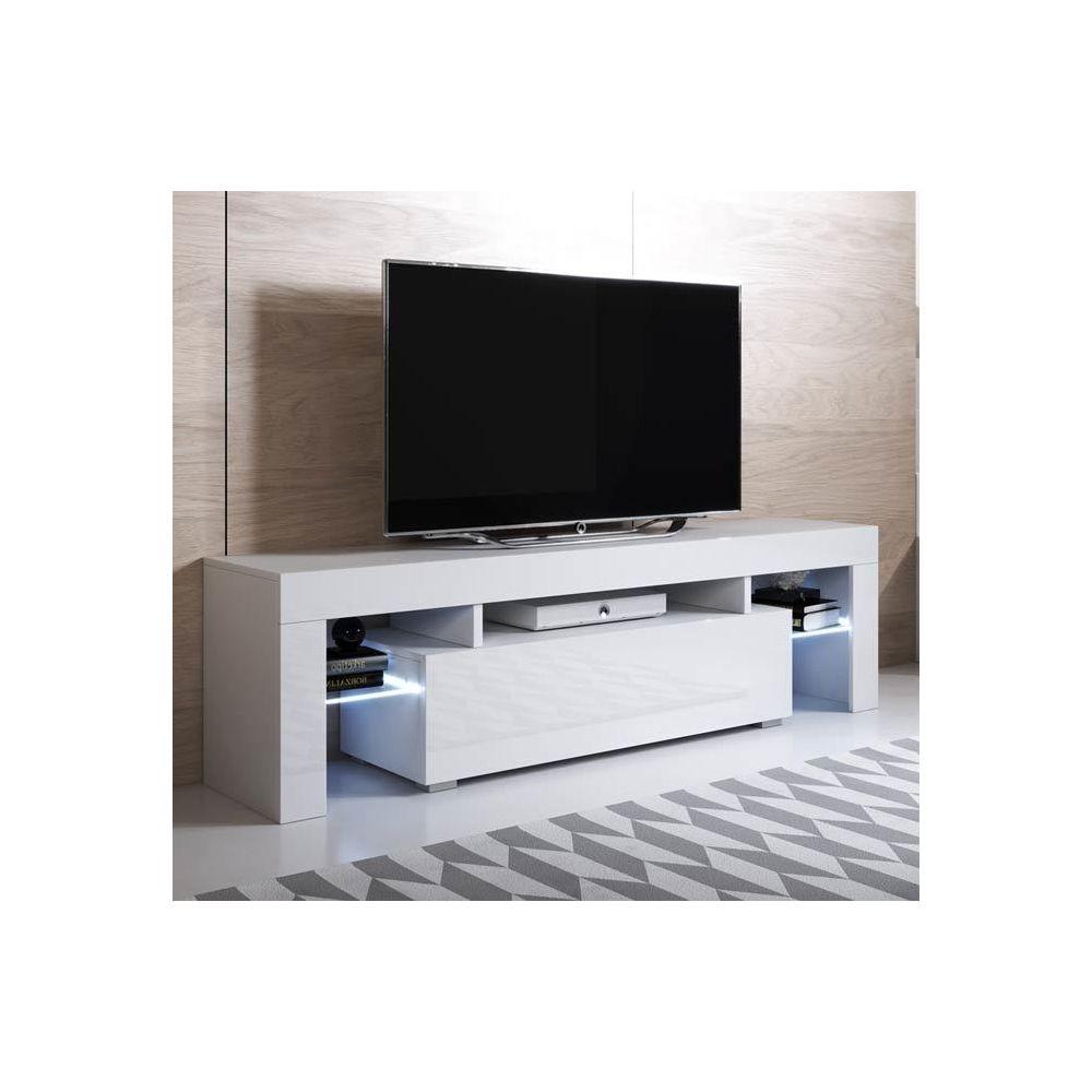Design Ameublement Meuble TV modèle Unai (160x45cm) couleur blanc avec LED RGB