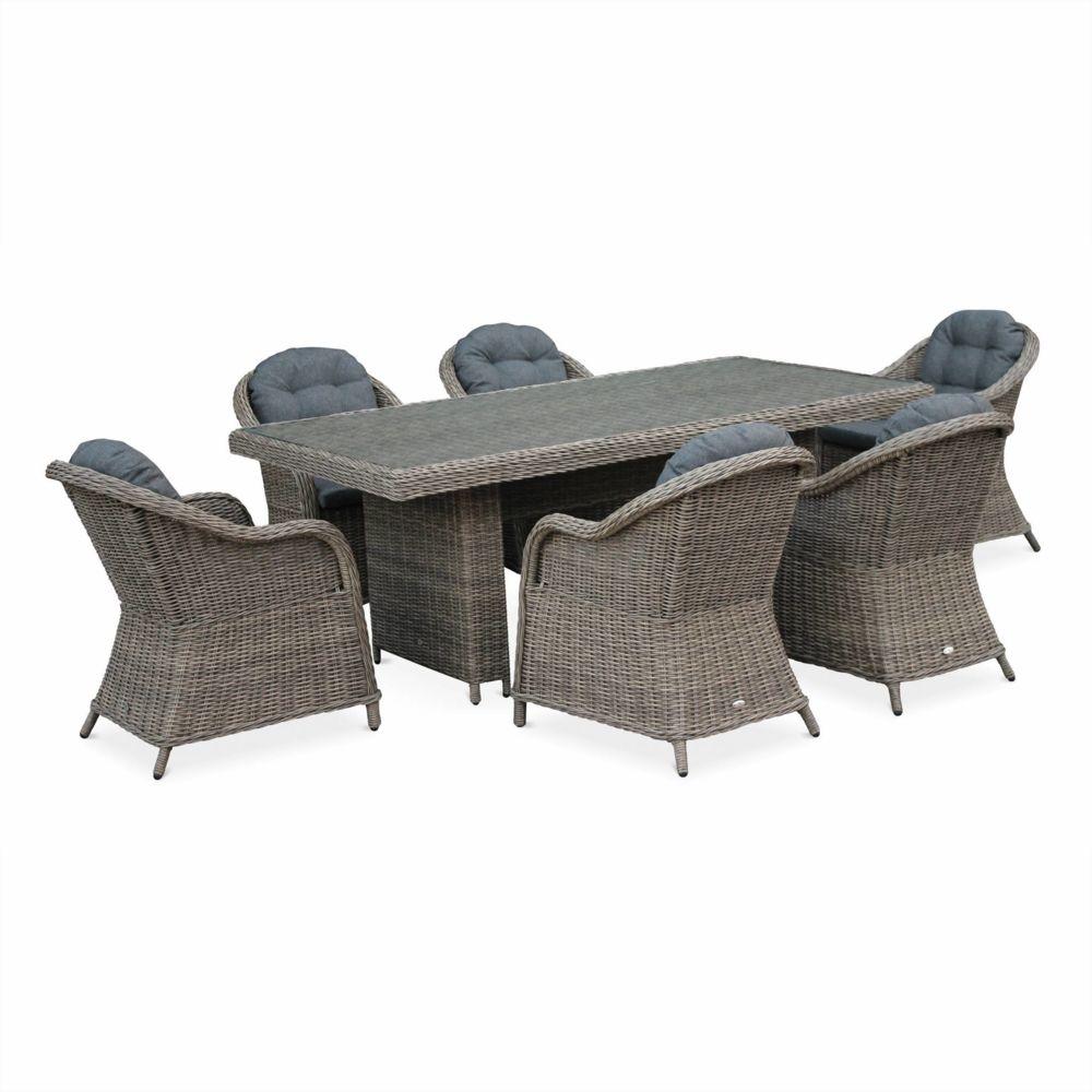 Alice'S Garden Table de jardin en résine tressée arrondie - Lecco Naturel - Coussins anthracite - 6 places - 6 fauteuils, une grande ta