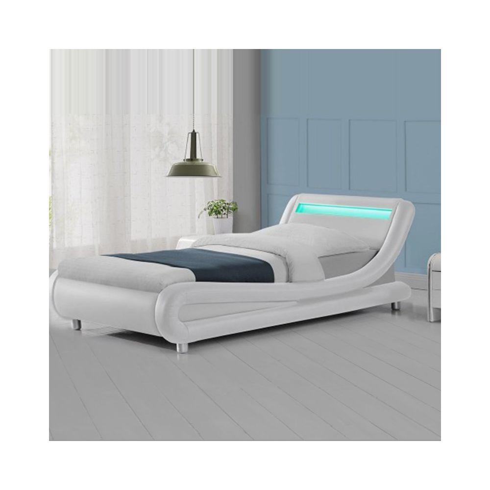 Meubler Design Lit led design Julio - Blanc - 90x190