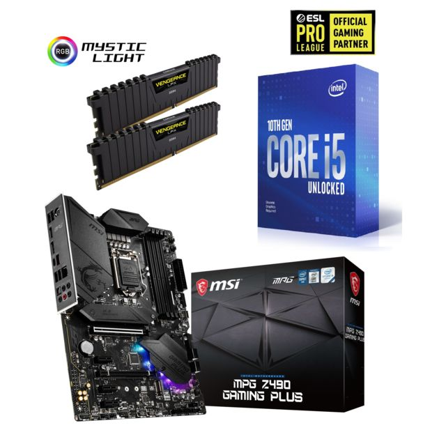 Intel - Core i5-10400F - 2.9/4.3 GHz + Vengeance LPX 16 Go (2 x 8 Go) - DDR4 3200 MHz Cas 16  + INTEL MPG Z490 GAMING PLUS - ATX - Kit d'évolution Intel