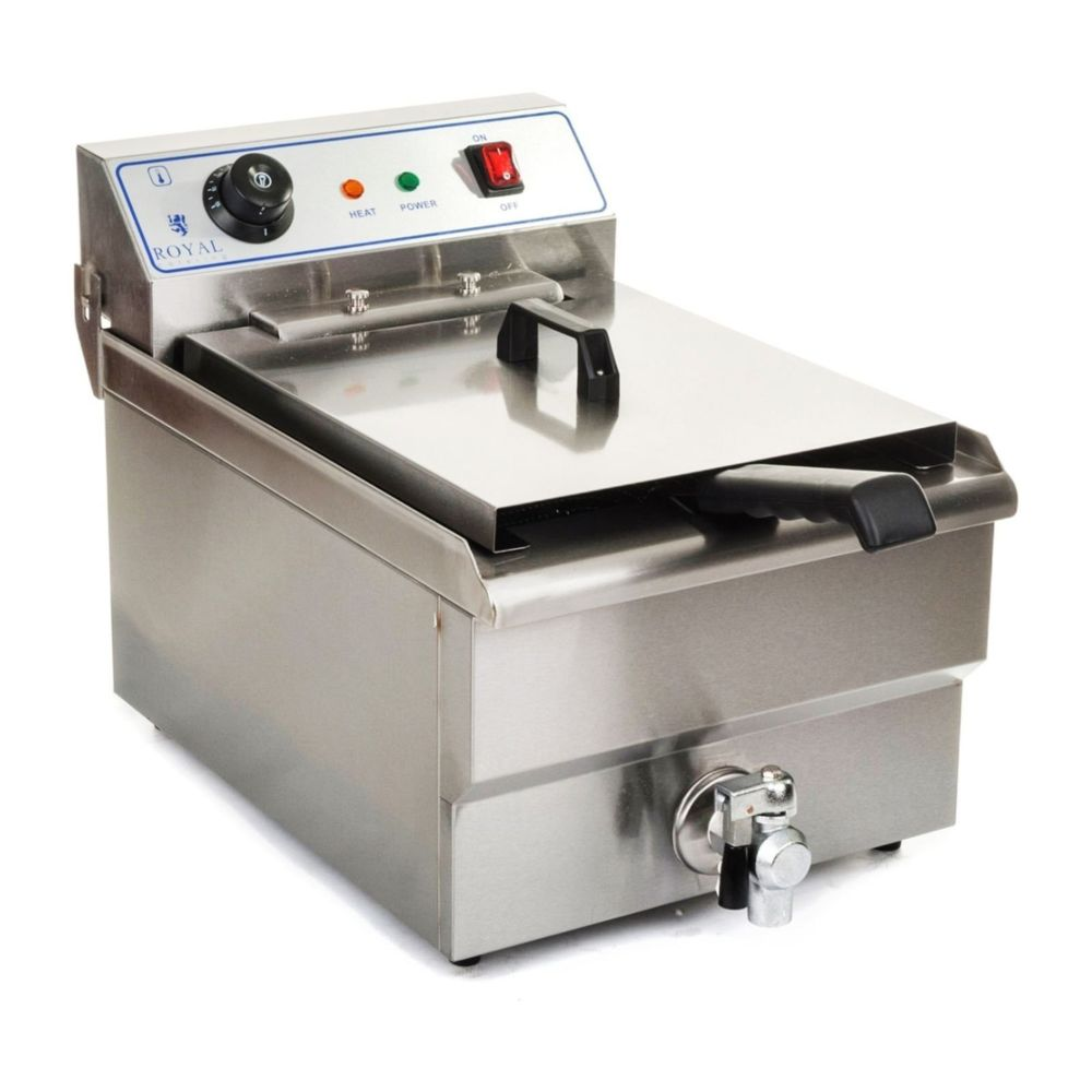 Helloshop26 Friteuse acier inox 1 bac 10 litres cuve et resistance amovible robinet vidange professionnelle 3614011