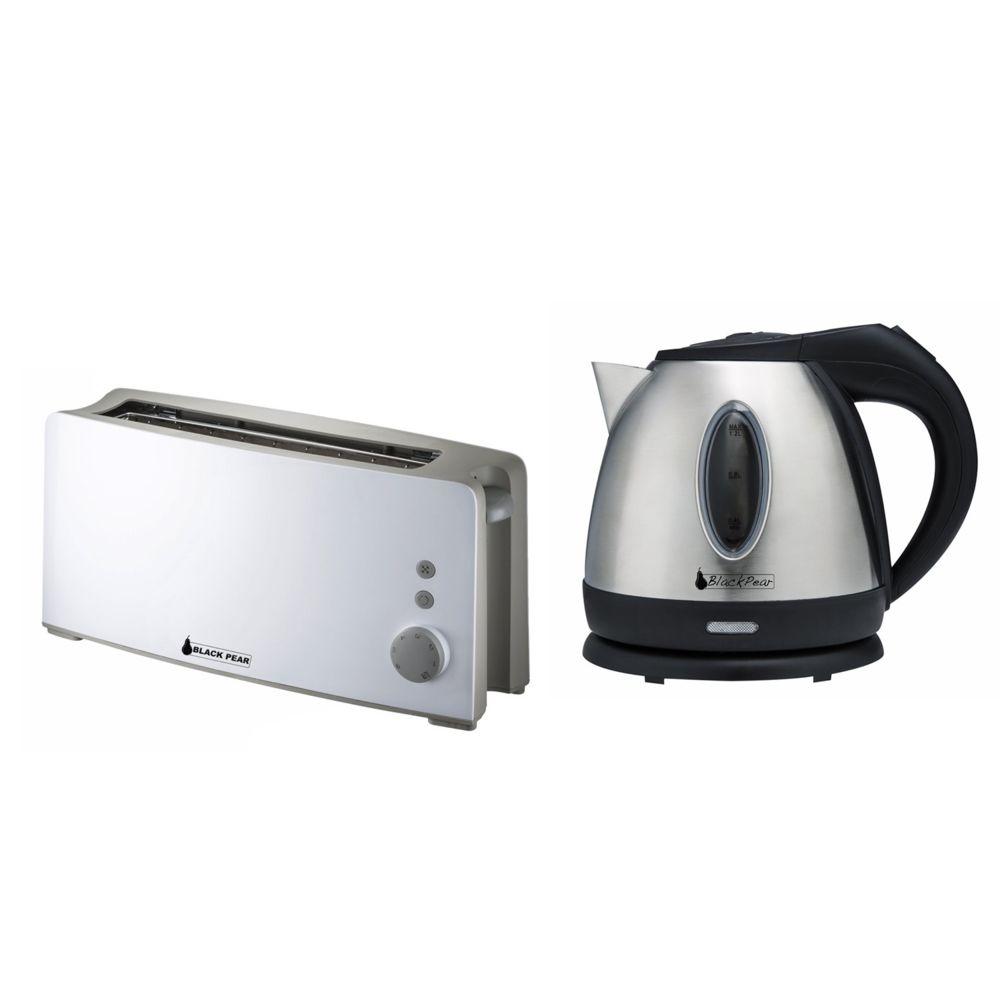 Blackpear Bouilloire inox 1630W 1.2L Black Pear BSF1216 + Grille pain 1 fente 100W Black Pear BGP301