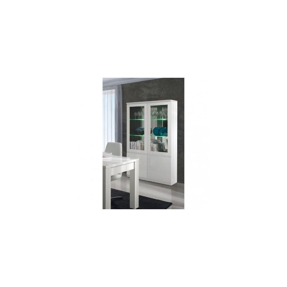 Price Factory Vitrine, vaisselier, argentier FABIO blanc brillant high gloss + LED. Meuble design pour votre salon ou salle à manger.