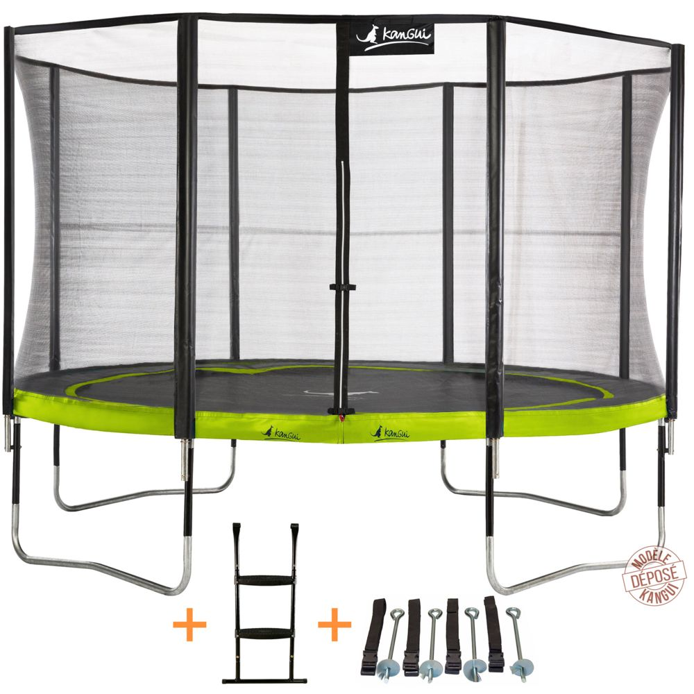 Kangui Kangui - Trampoline de jardin 365 cm + filet de sécurité + échelle + kit d'ancrage PUNCHI Vert 360