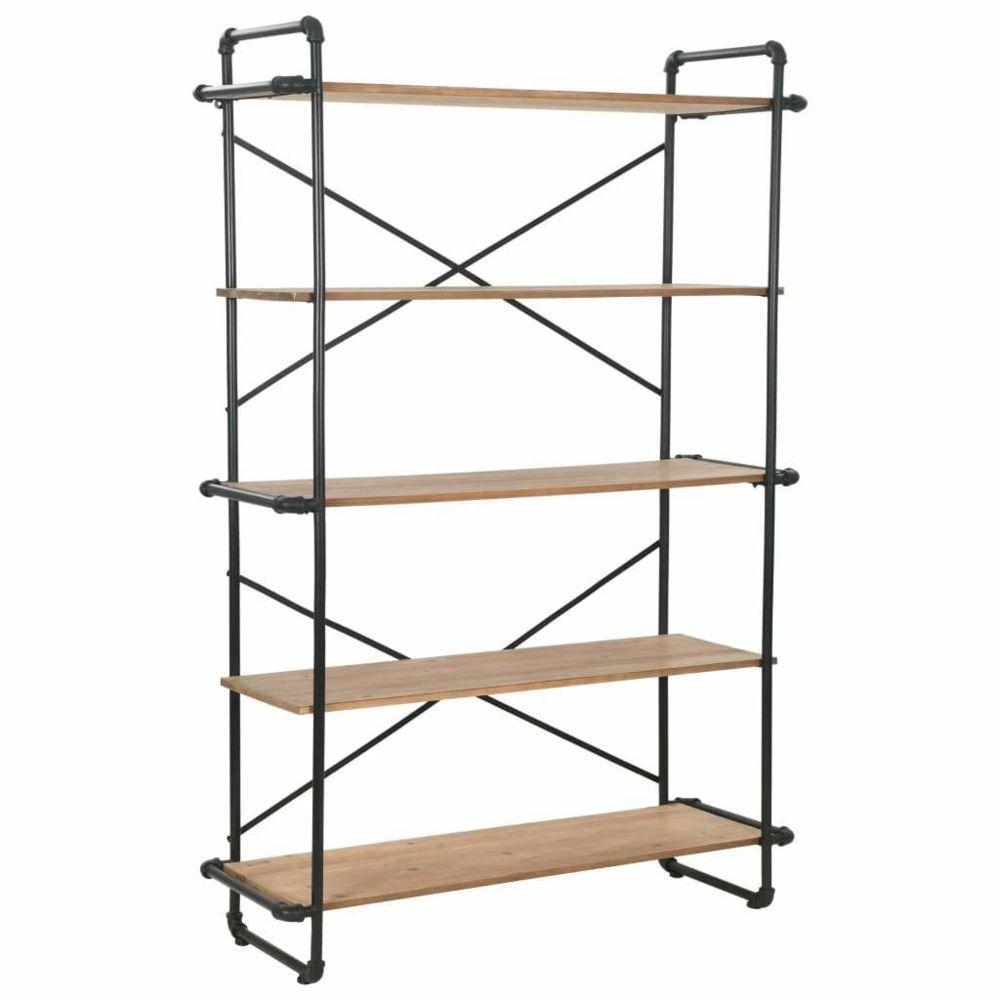 Helloshop26 Étagère armoire meuble design bibliothèque bois de sapin massif et acier 180 cm 2702052/2