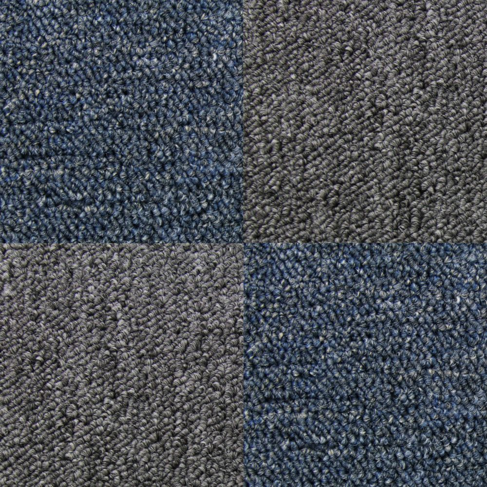 Monstershop Dalle de Moquette Ultra-Résistant Couleur Bleu Tempête & Anthracite pour Usage Professionnel, 2 Paquets de 20 Dalles de