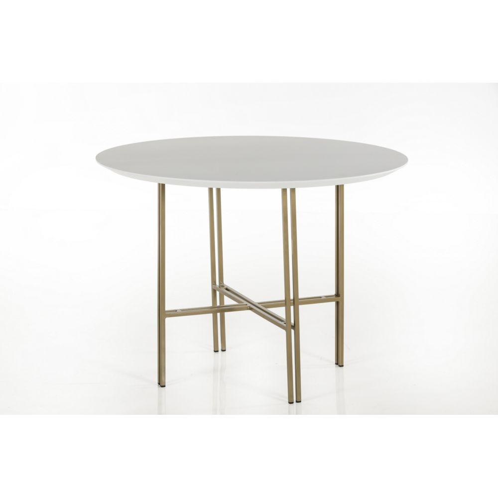 HELLIN Table ronde moderne en bois et métal D120 - BRIGHTON