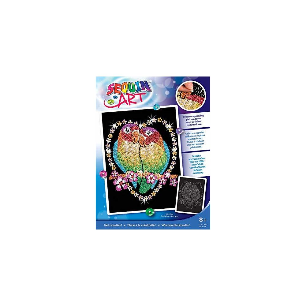 Sequin Art Sequin Art Blue Love Birds Sparkling Arts and Crafts Picture Kit Creative Crafts