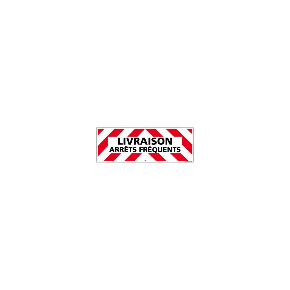 Signaletique Biz Adhésif Rétroréfléchissant Magnétique - Livraison Arrêts Fréquents - Dimensions 500x150 mm - Rouge et Blanc - Protection