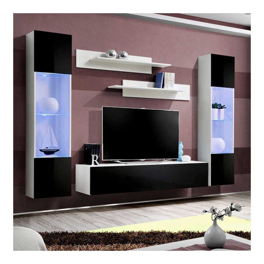 Nouvomeuble Grand meuble TV noir et blanc LARISSA