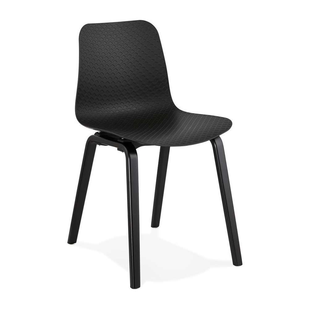 Alterego Chaise design 'PACIFIK' noire avec pieds en bois noir