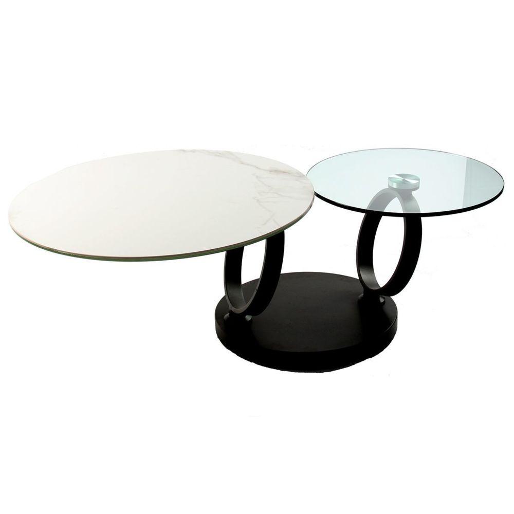 Altobuy Vikli - Table Basse Ronde Plateaux Verre et Céramique