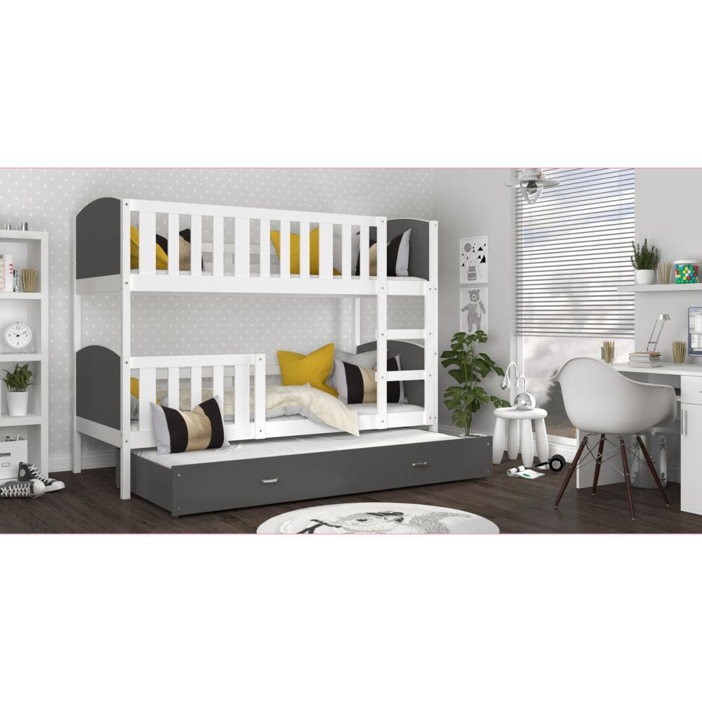 Kids Literie Lit superpose 3 places Tomy 90x190 blanc gris livré avec tiroir,3 sommiers et 3 matelas en mousse de 7cm offerts