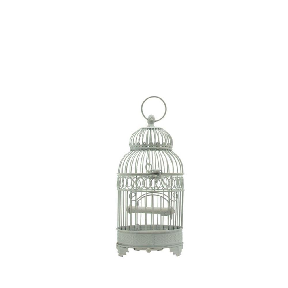 Chemin De Campagne Style Ancienne Petite Cage à Oiseaux en fer Blanc Ronde 40 cm x ø16.50 cm