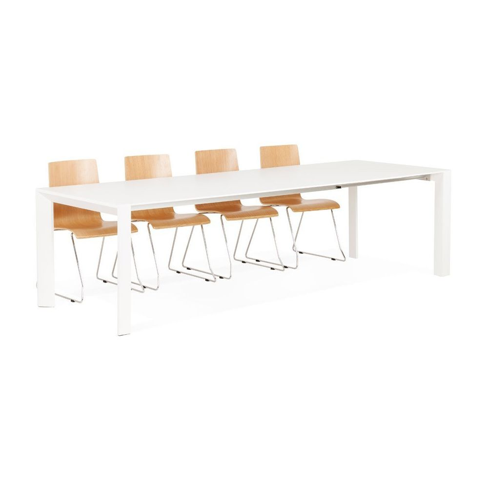 Alterego Table design extensible 'MAMAT' blanche mate - 190(270)x95 cm