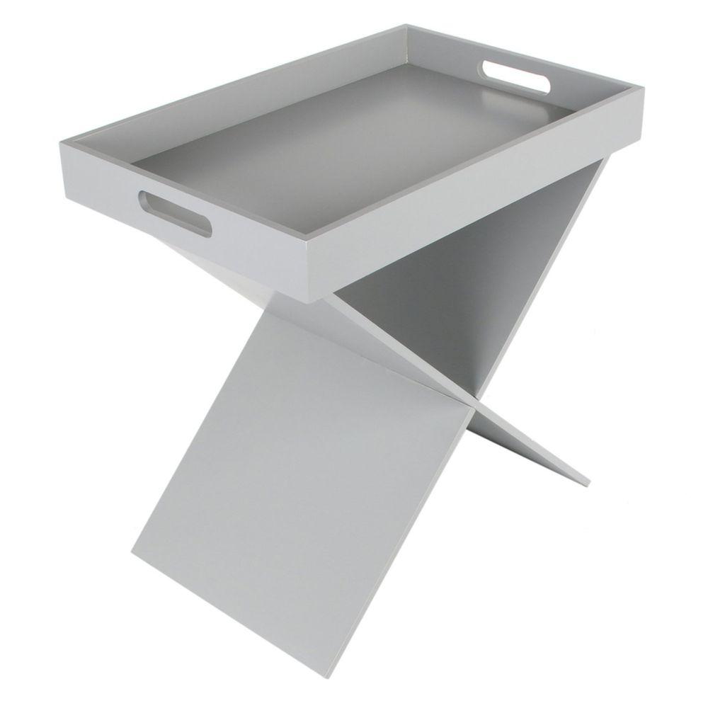 The Home Deco Factory Table d'appoint design Géométique - L. 46 x H. 48 cm - Gris