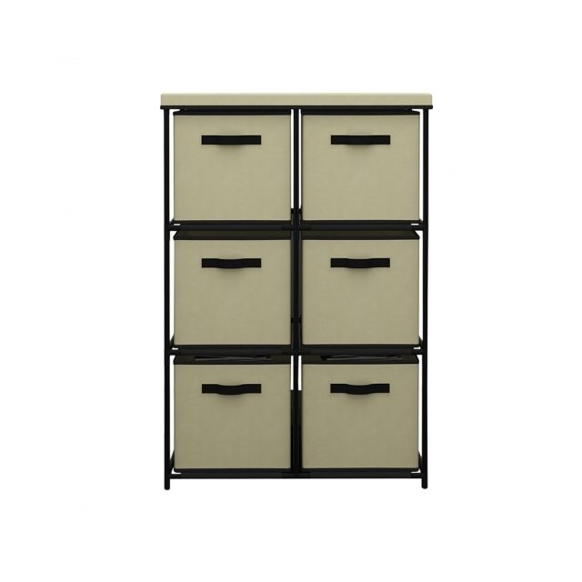 Agd - Mobilier confortable 6 tiroirs beige - Commode