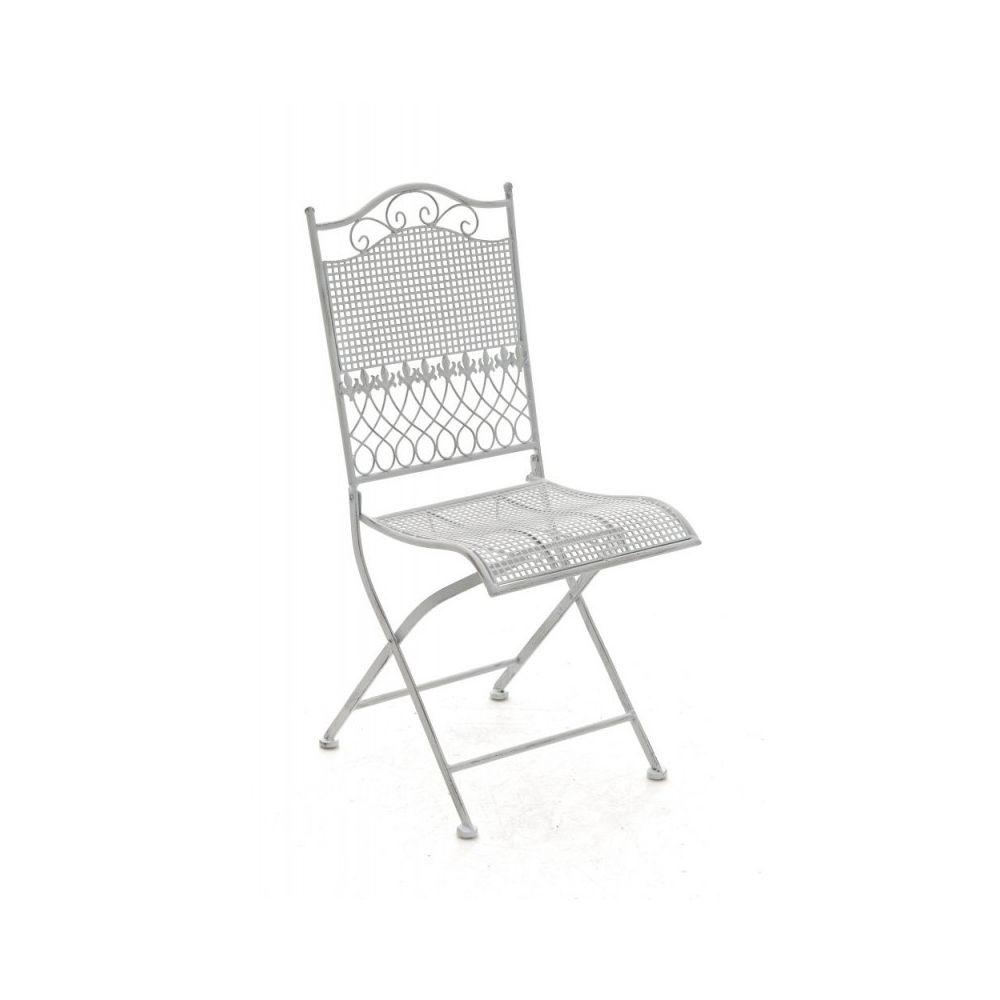 Decoshop26 Chaise de jardin en fer forgé blanc vieilli MDJ10023