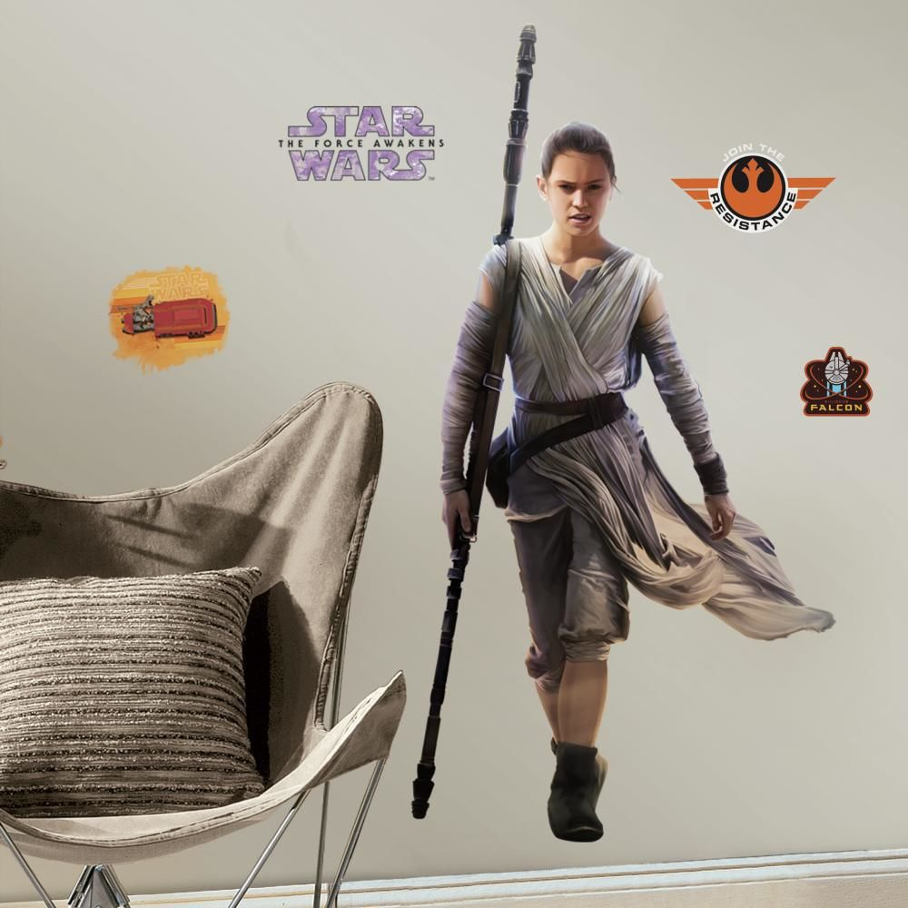 Mon Beau Tapis STAR WARS EPISODE 7 REY - Stickers repositionnables géants Rey, Star Wars Episode VII 140x73