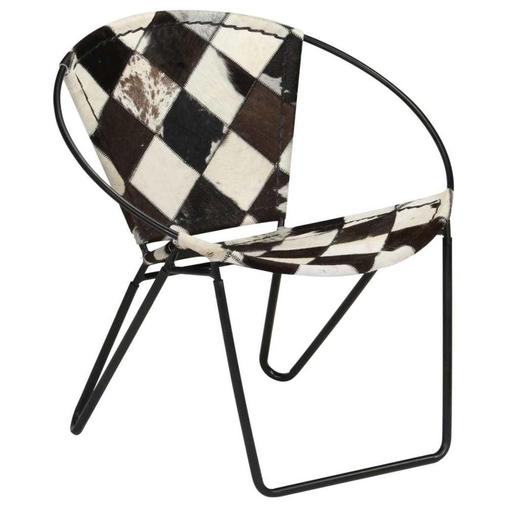 Vidaxl Chaise de relaxation Cuir véritable 69x69x69 cm Losanges Noir - Fauteuils club, fauteuils inclinables et chauffeuses lit