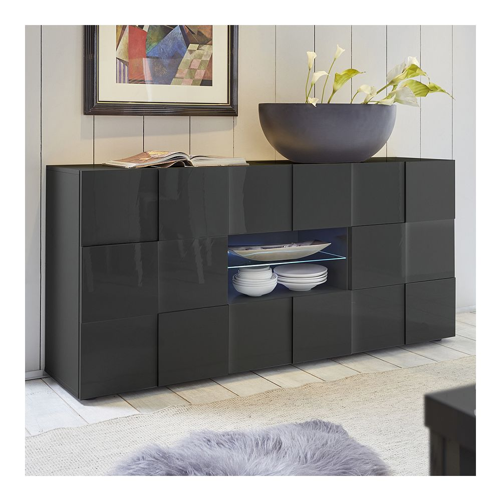 Sofamobili Buffet design gris laqué brillant ARTIC 2