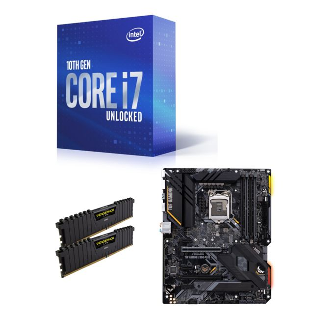Intel - Core i7-10700K - 3.8/5.1 GHz + Vengeance LPX 16 Go (2 x 8 Go) - DDR4 3200 MHz Cas 16  + INTEL Z490-PLUS TUF GAMING - ATX Intel   - Kit d'évolution Intel