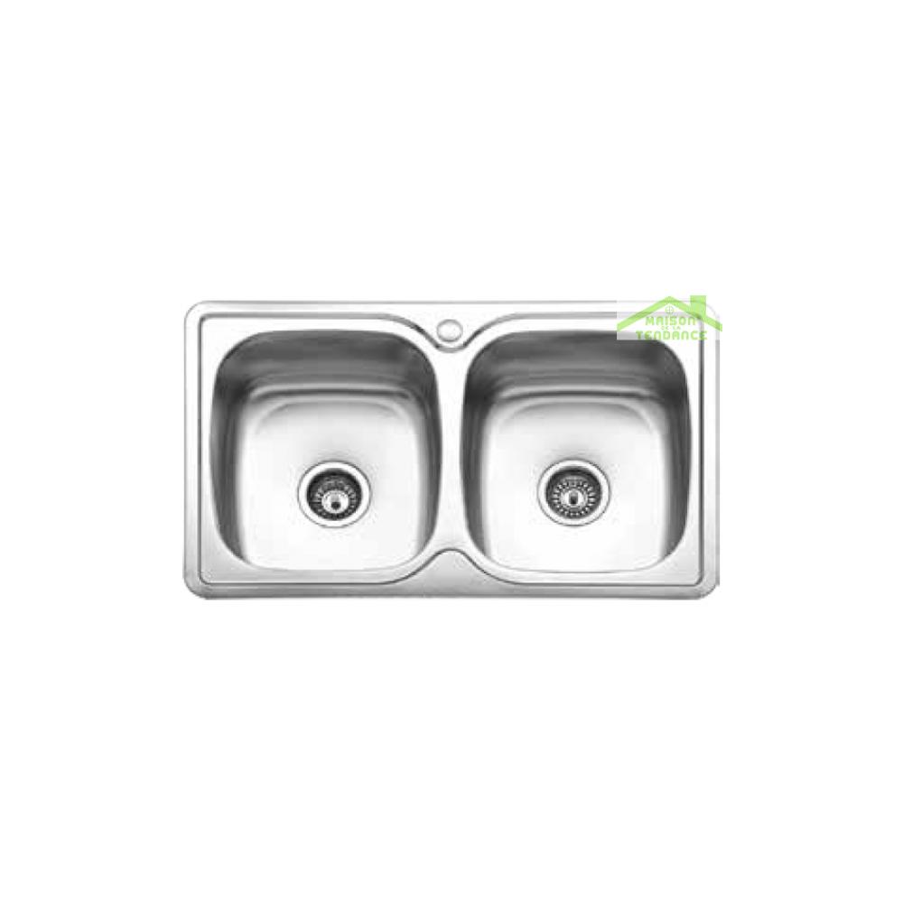 Karag Évier double 2 bacs en acier inoxydable RIVIRA 82x50 cm