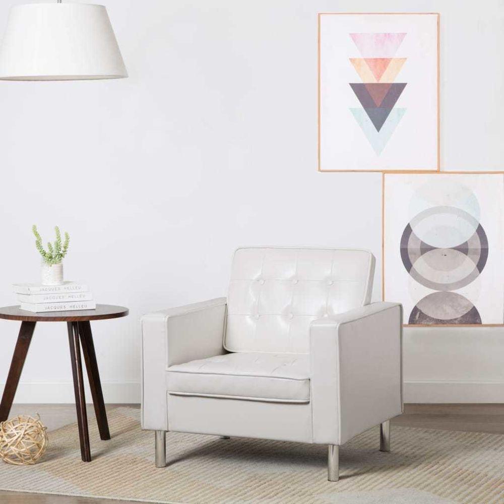 Vidaxl Fauteuil Revêtement de simili-cuir 75 x 70 x 75 cm Blanc - Fauteuils club, fauteuils inclinables et chauffeuses lits   B