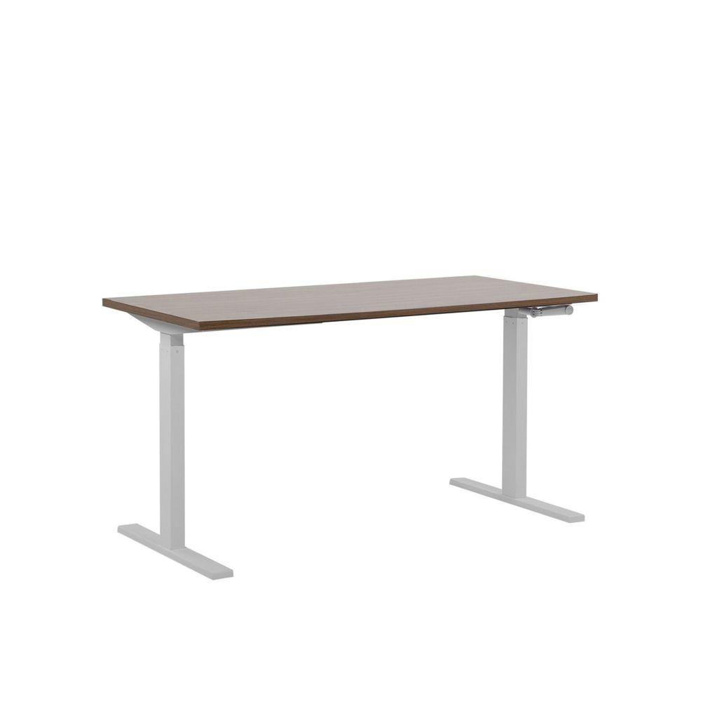 Beliani Beliani Table à hauteur réglable plateau marron 160 x 72 cm et structure blanche DESTIN II - marron