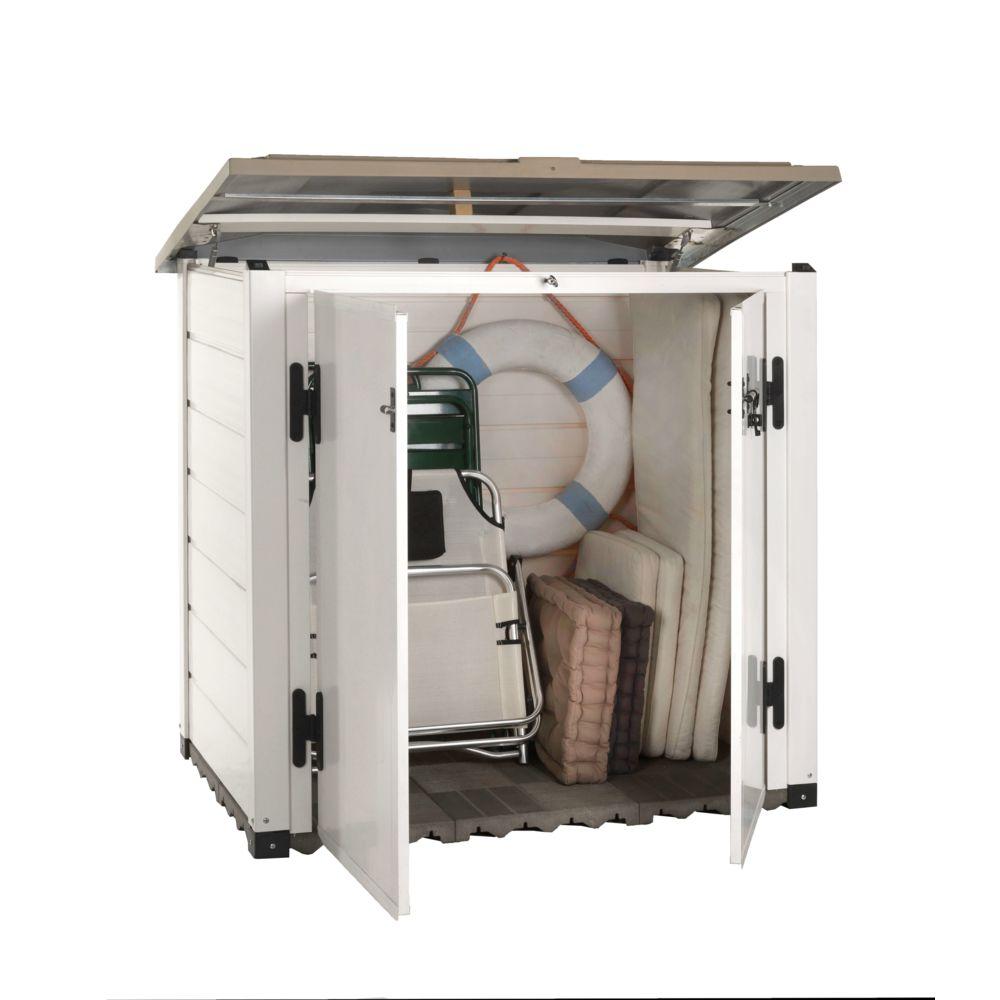 Gardiun Coffre en Résine Garden Box Tuscany 100 Blanc/Beige 131x88x76 cm - KSP38260 - GARDIUN