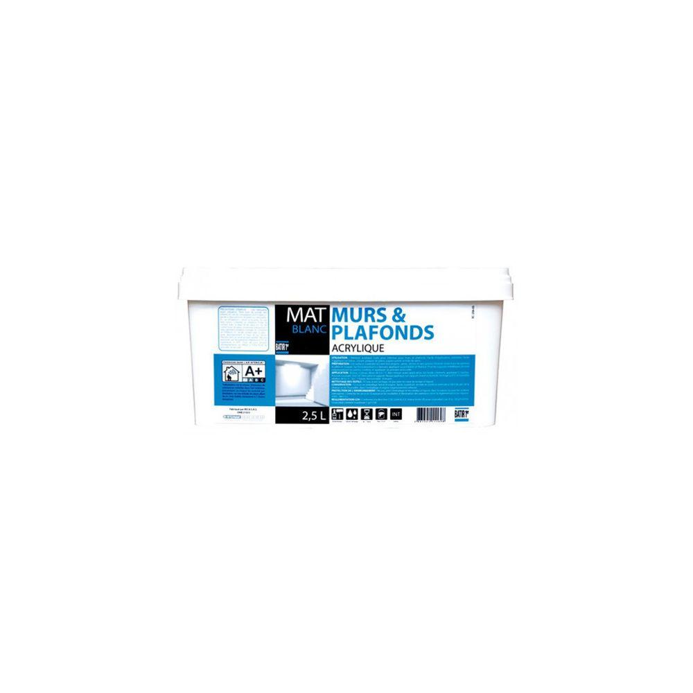 Batir Peintures Peinture acrylique murs et plafonds Mat 2,5 L - Blanc - BAT111169 - Batir