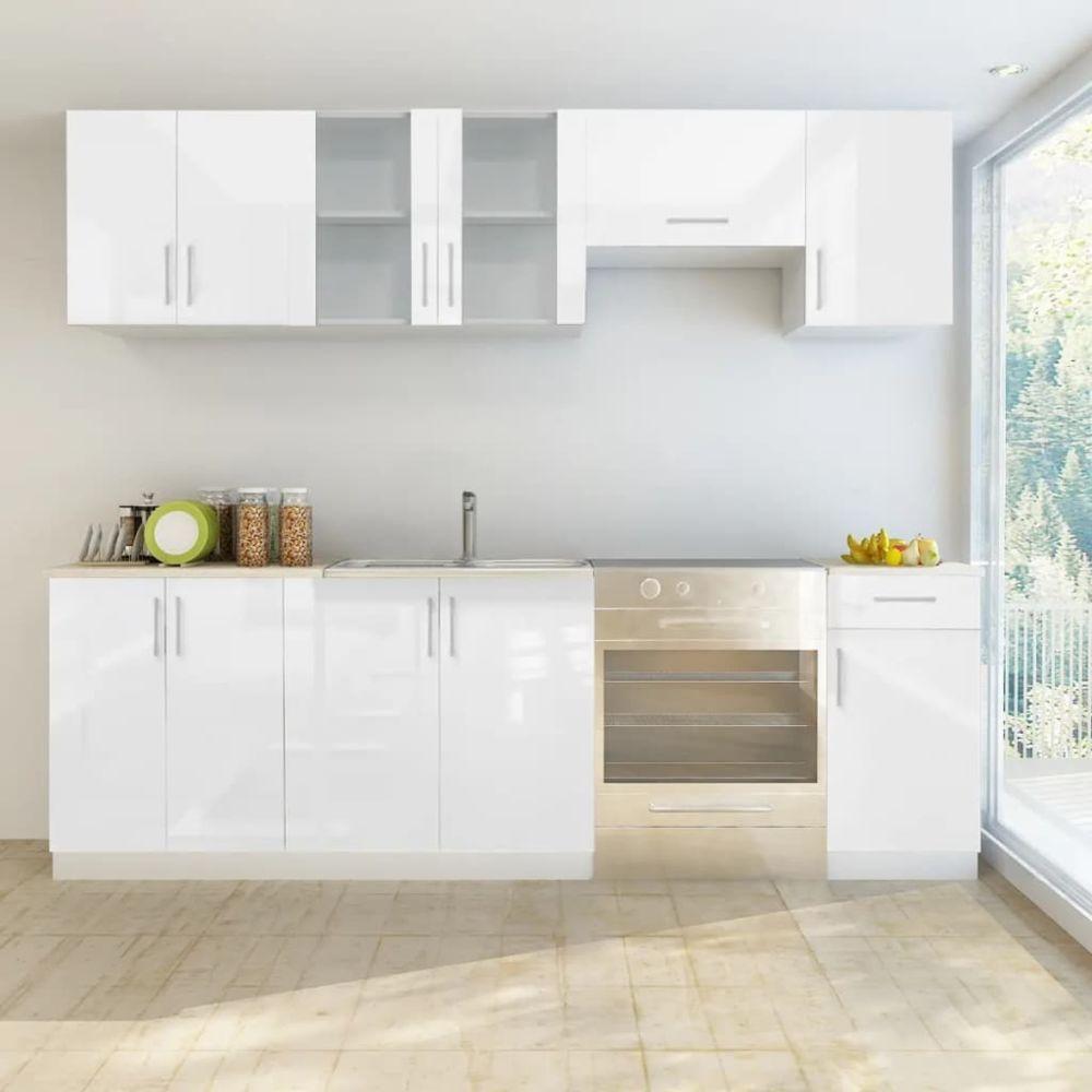 Vidaxl vidaXL Armoire de cuisine 7 pcs Blanc haut brillance 240 cm