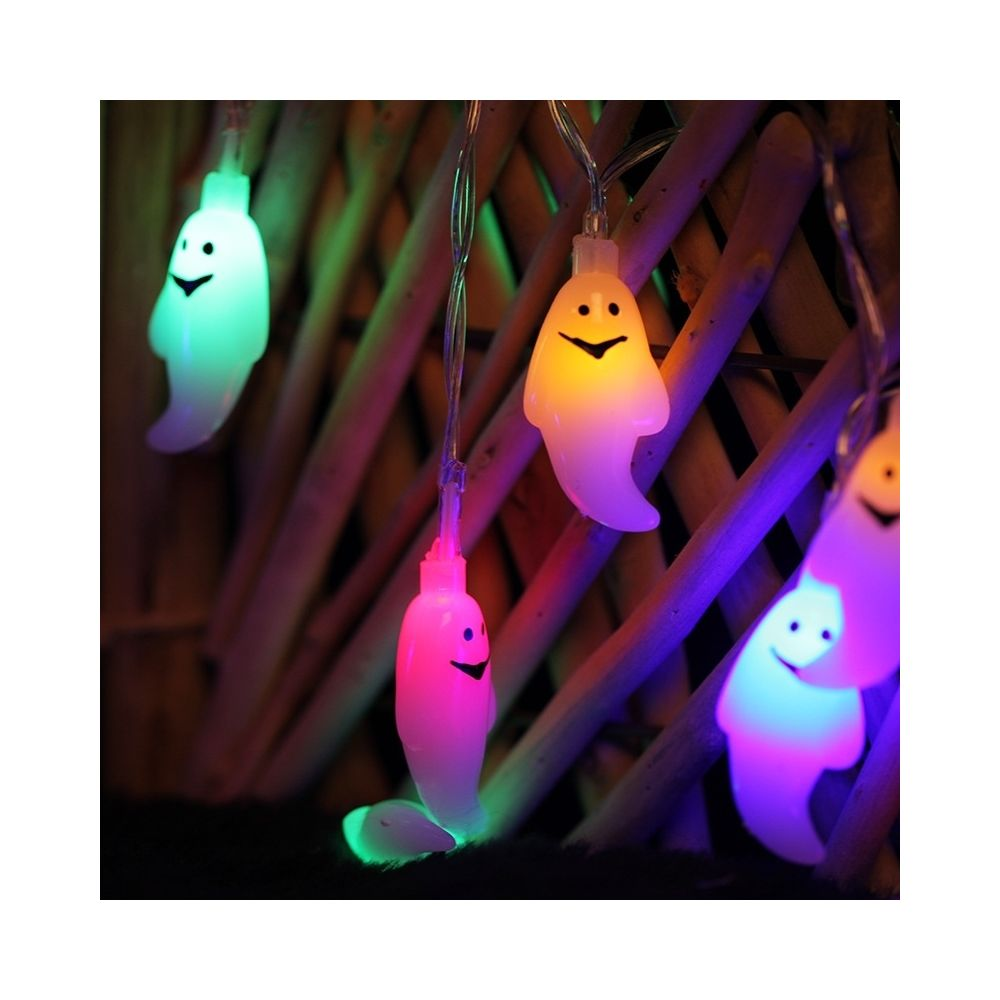 Wewoo 2.5m Ghost Design Coloré Lumière Halloween Série Guirlande Lumineuse, 20 LEDs 3 x Piles AA Boîte Opéré Fête Accessoires