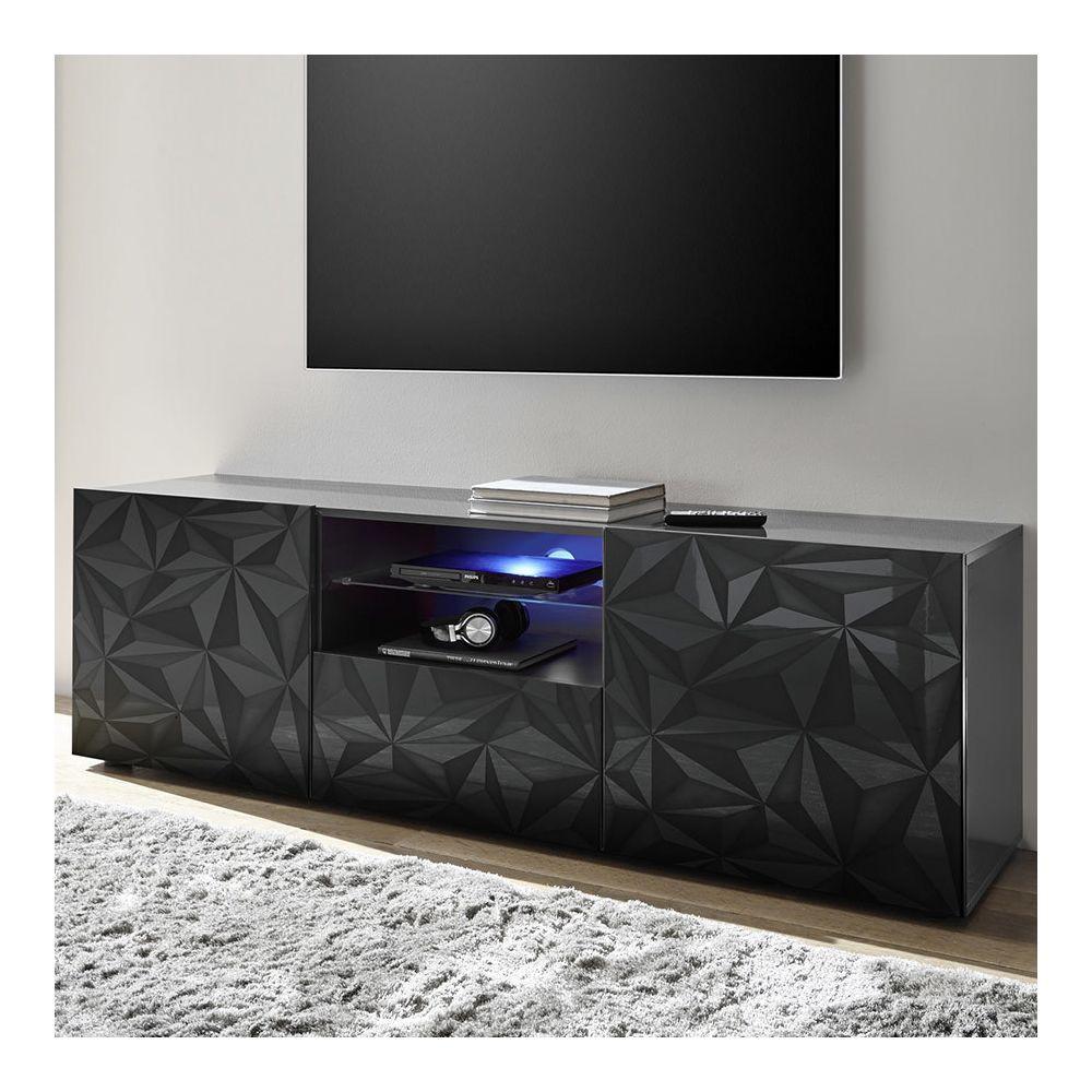 Sofamobili Meuble tv long 180 cm gris laqué design ANTONIO 3