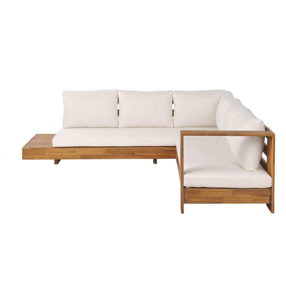 Beliani Beliani Canapé de jardin 5 places en bois avec coussins blanc cassé MARETTIMO -
