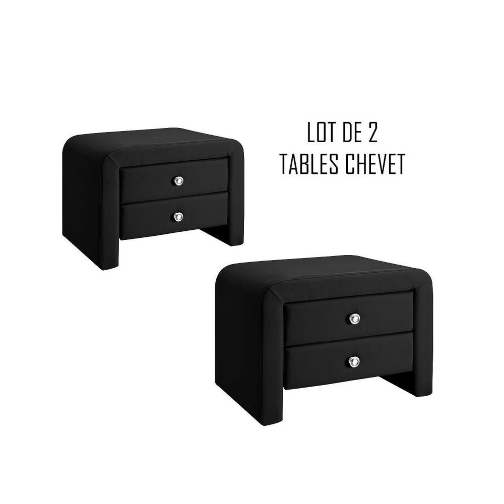 Meubler Design Table chevet design noir Eva x2