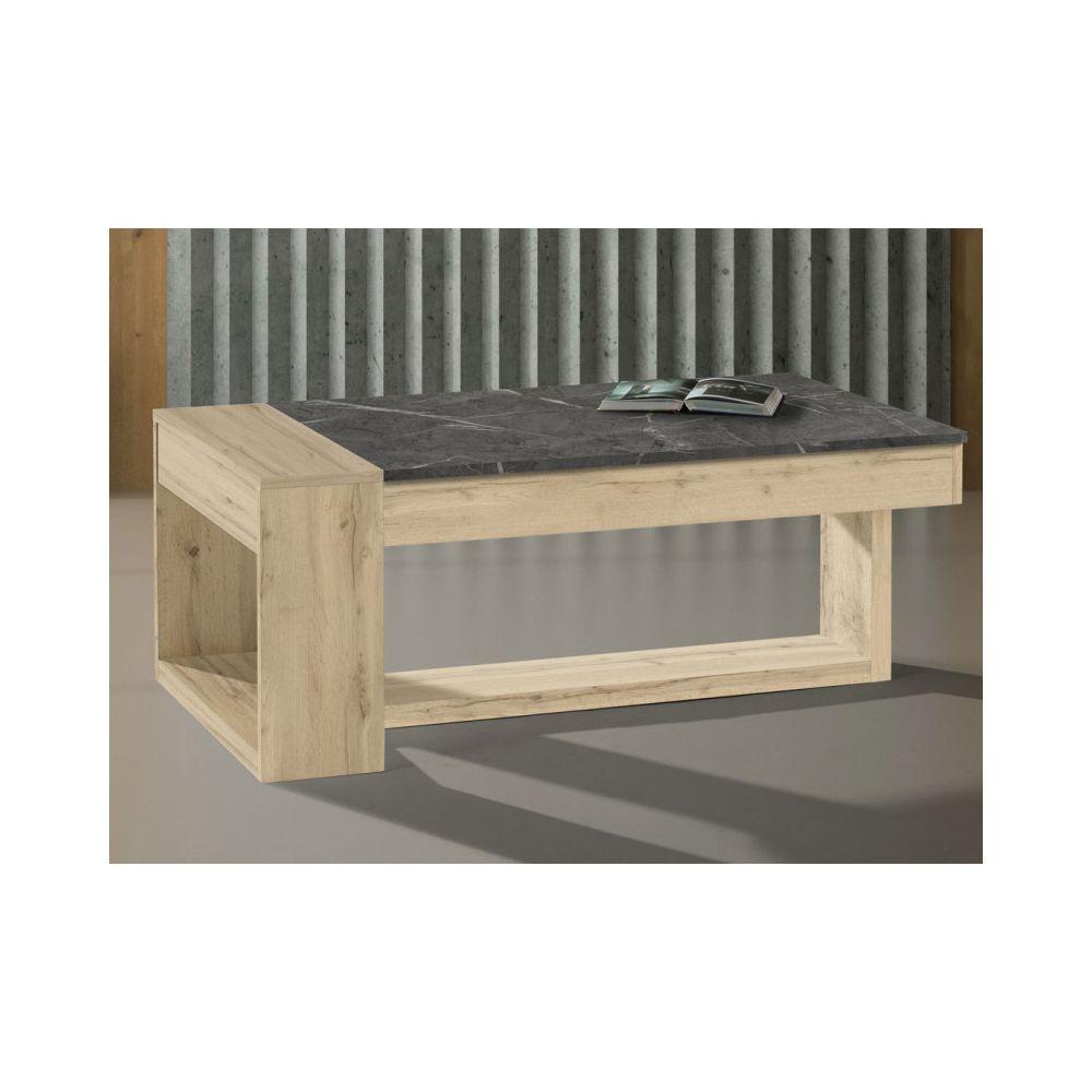 Tousmesmeubles Table basse relevable Chêne blond/Marbre gris - ESTEBAN