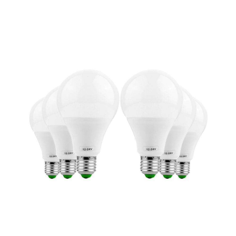 Wewoo Ampoule LED 6PCS E27 9W AC / DC 12-24V 18LEDs 5730SMD (Blanc Chaud)