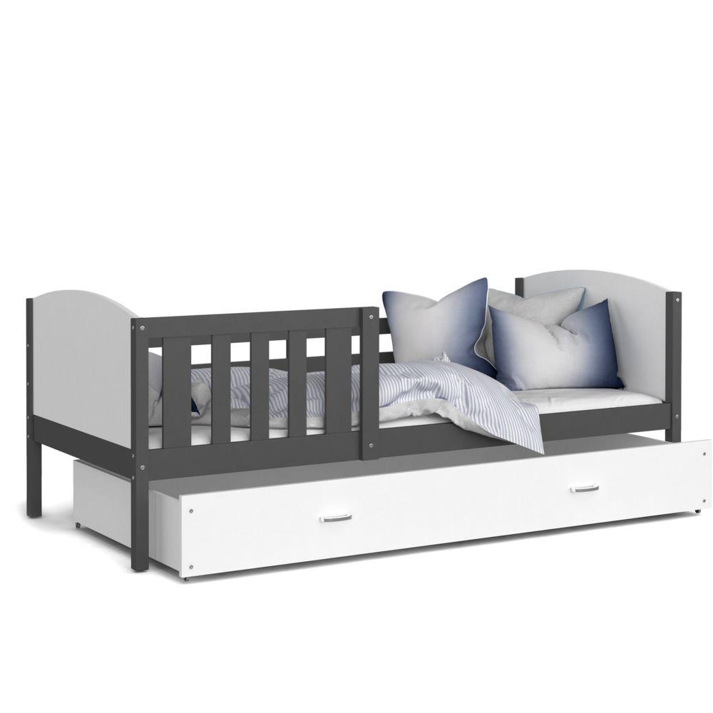 Kids Literie Lit enfant Tomy 90x190 gris blanc livré avec tiroir, sommier et matelas en mousse de 7cm offert